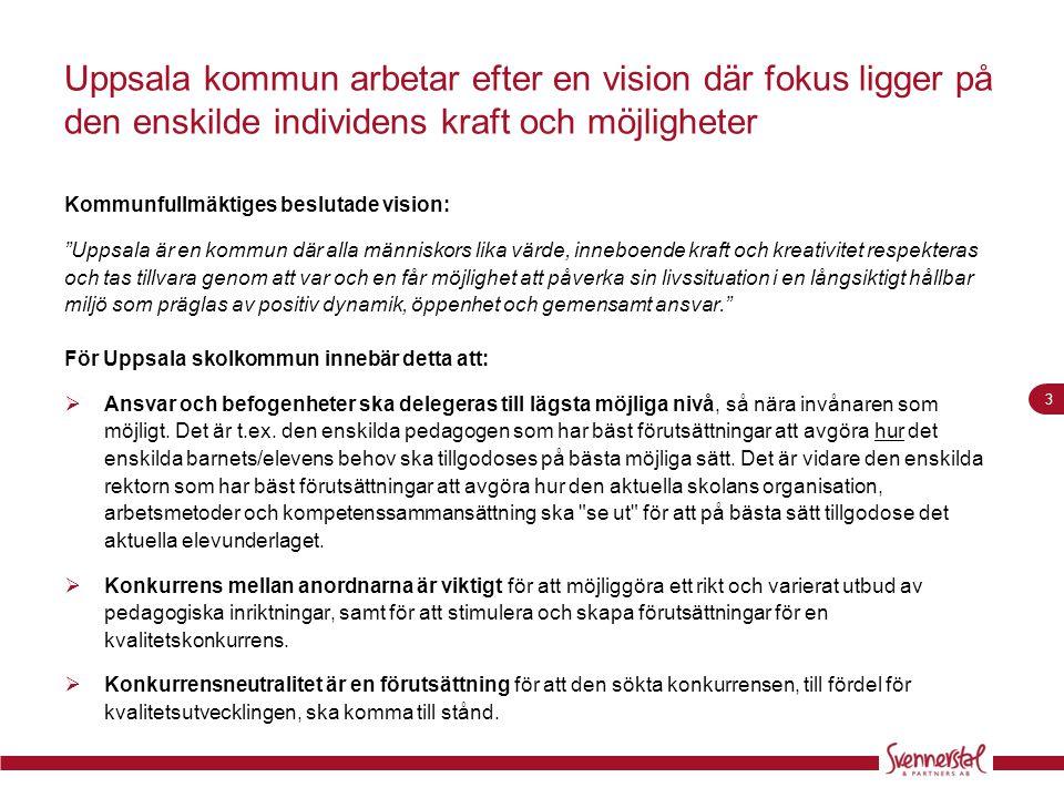 """3 Uppsala kommun arbetar efter en vision där fokus ligger på den enskilde individens kraft och möjligheter Kommunfullmäktiges beslutade vision: """"Uppsa"""