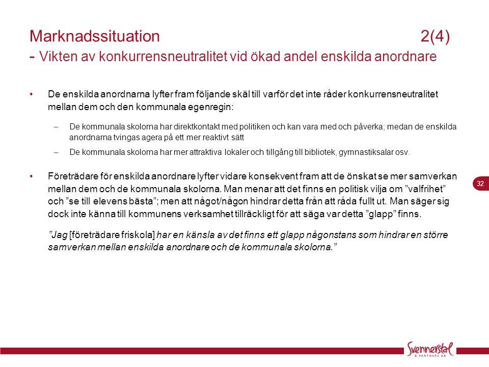 32 Marknadssituation2(4) - Vikten av konkurrensneutralitet vid ökad andel enskilda anordnare •De enskilda anordnarna lyfter fram följande skäl till va