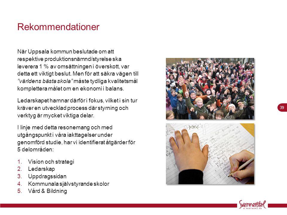 39 Rekommendationer När Uppsala kommun beslutade om att respektive produktionsnämnd/styrelse ska leverera 1 % av omsättningen i överskott, var detta e