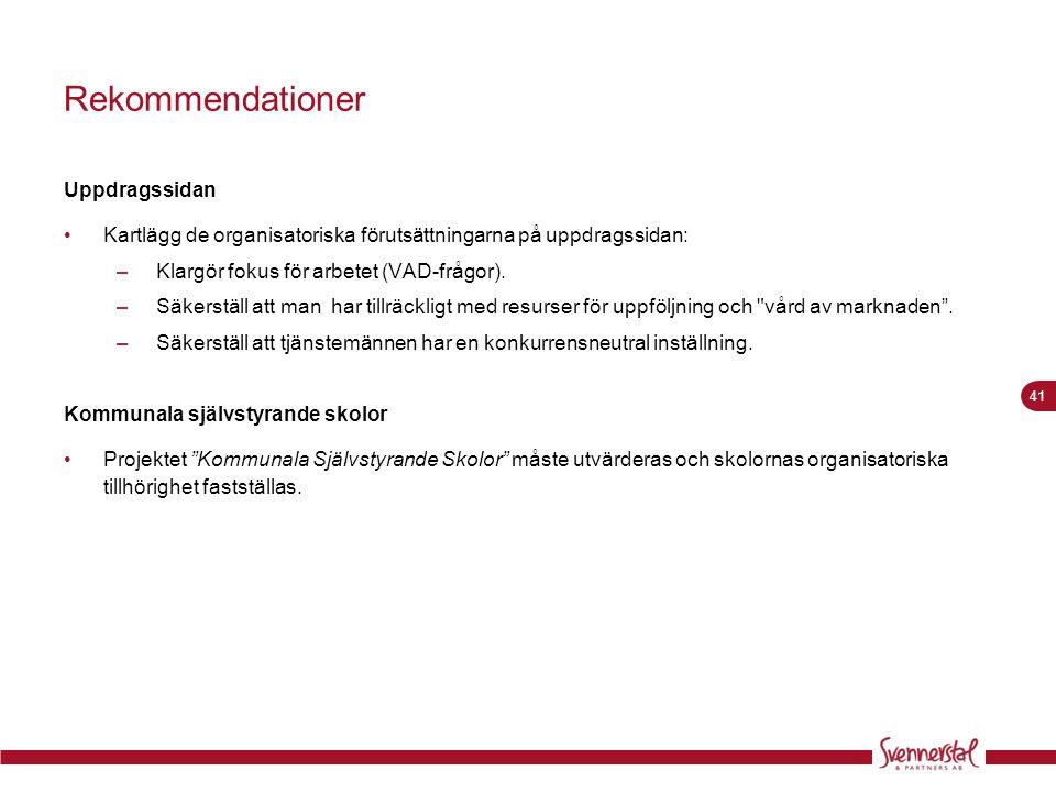 41 Rekommendationer Uppdragssidan •Kartlägg de organisatoriska förutsättningarna på uppdragssidan: –Klargör fokus för arbetet (VAD-frågor). –Säkerstäl