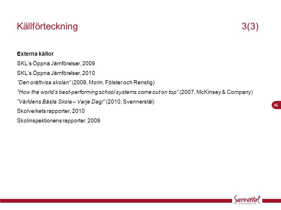 """46 Källförteckning3(3) Externa källor SKL's Öppna Jämförelser, 2009 SKL's Öppna Jämförelser, 2010 """"Den orättvisa skolan"""" (2009, Morin, Fölster och Ren"""