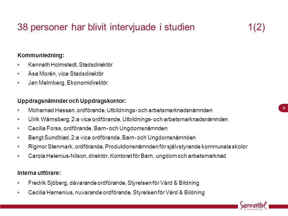 9 38 personer har blivit intervjuade i studien 1(2) Kommunledning: •Kenneth Holmstedt, Stadsdirektör •Åsa Morén, vice Stadsdirektör •Jan Malmberg, Eko