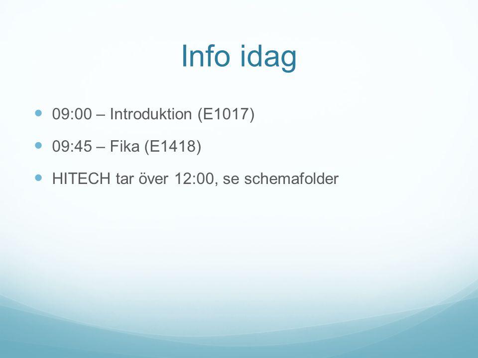 Info idag  09:00 – Introduktion (E1017)  09:45 – Fika (E1418)  HITECH tar över 12:00, se schemafolder