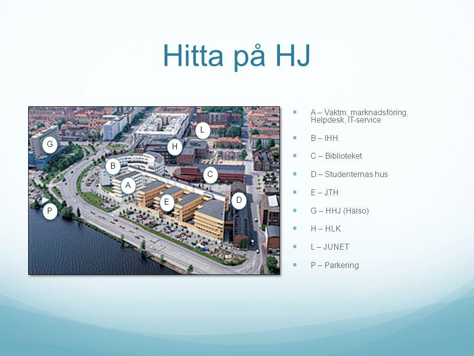 Hitta på HJ  A – Vaktm, marknadsföring, Helpdesk, IT-service  B – IHH  C – Biblioteket  D – Studenternas hus  E – JTH  G – HHJ (Hälso)  H – HLK