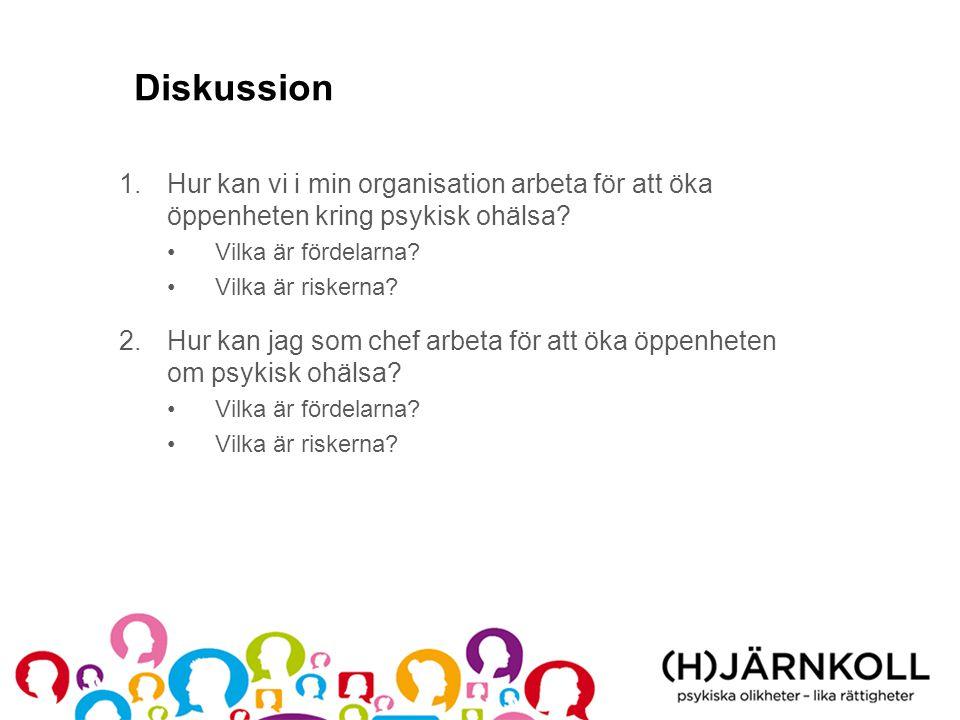 Diskussion 1.Hur kan vi i min organisation arbeta för att öka öppenheten kring psykisk ohälsa? •Vilka är fördelarna? •Vilka är riskerna? 2.Hur kan jag