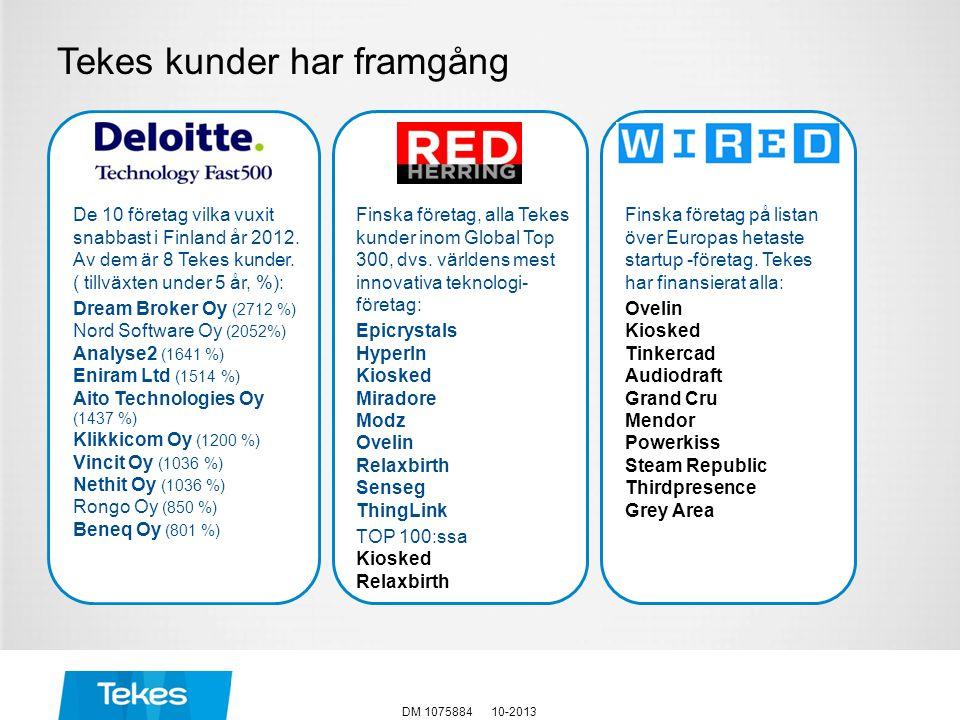 Tekes kunder har framgång 10-2013DM 1075884 Finska företag, alla Tekes kunder inom Global Top 300, dvs. världens mest innovativa teknologi- företag: E