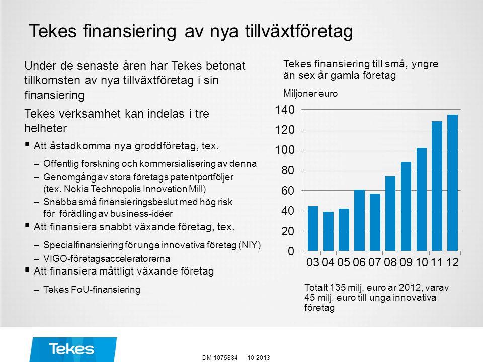 Tekes finansiering av nya tillväxtföretag Under de senaste åren har Tekes betonat tillkomsten av nya tillväxtföretag i sin finansiering Tekes verksamh