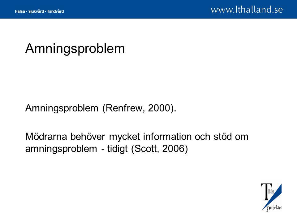 Hälsa • Sjukvård • Tandvård Amningsproblem Amningsproblem (Renfrew, 2000). Mödrarna behöver mycket information och stöd om amningsproblem - tidigt (Sc