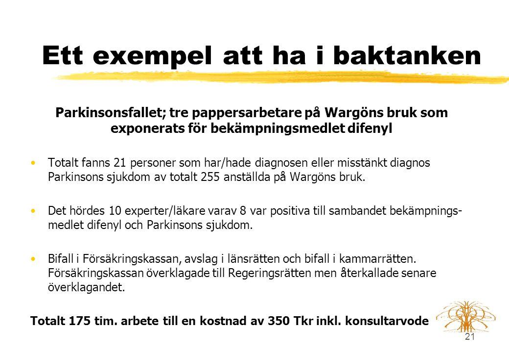 21 Ett exempel att ha i baktanken Parkinsonsfallet; tre pappersarbetare på Wargöns bruk som exponerats för bekämpningsmedlet difenyl •Totalt fanns 21 personer som har/hade diagnosen eller misstänkt diagnos Parkinsons sjukdom av totalt 255 anställda på Wargöns bruk.