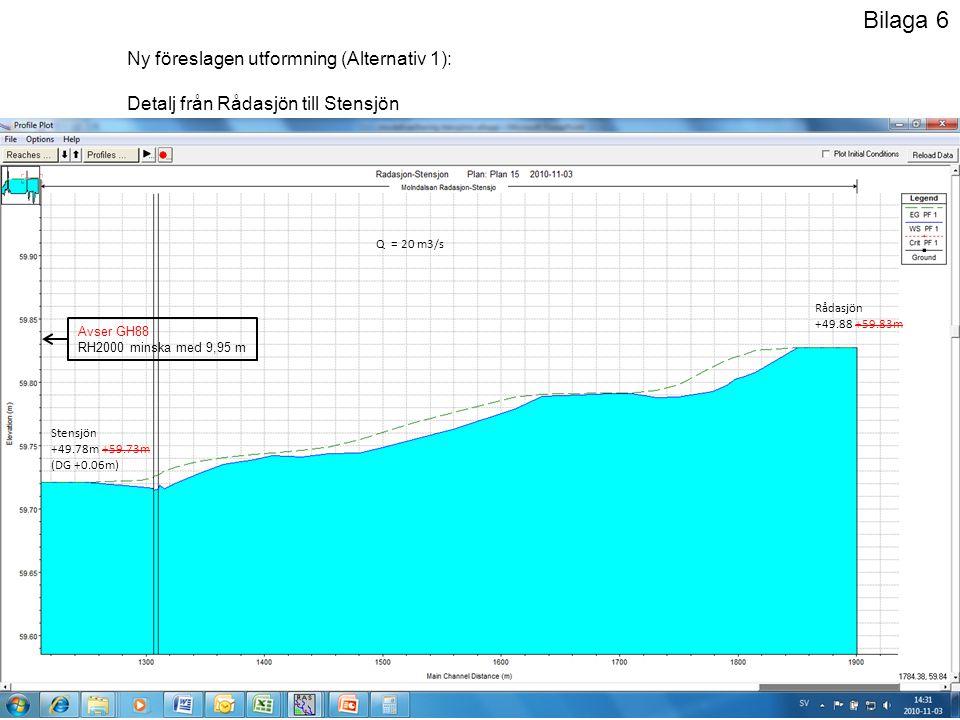 Ny föreslagen utformning (Alternativ 1): Vattendraget breddat, muddrat och Stensjö dämme ombyggt (bredd 10 m, tröskel sänkt 0,5 m) Nära SG (+49.14m) har den nya utformningen en kapacitet på 8,5 m3/s.