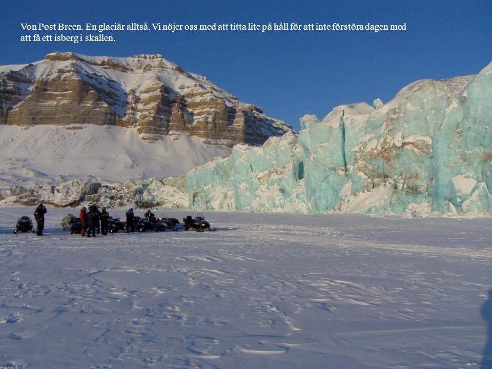 Von Post Breen. En glaciär alltså. Vi nöjer oss med att titta lite på håll för att inte förstöra dagen med att få ett isberg i skallen.