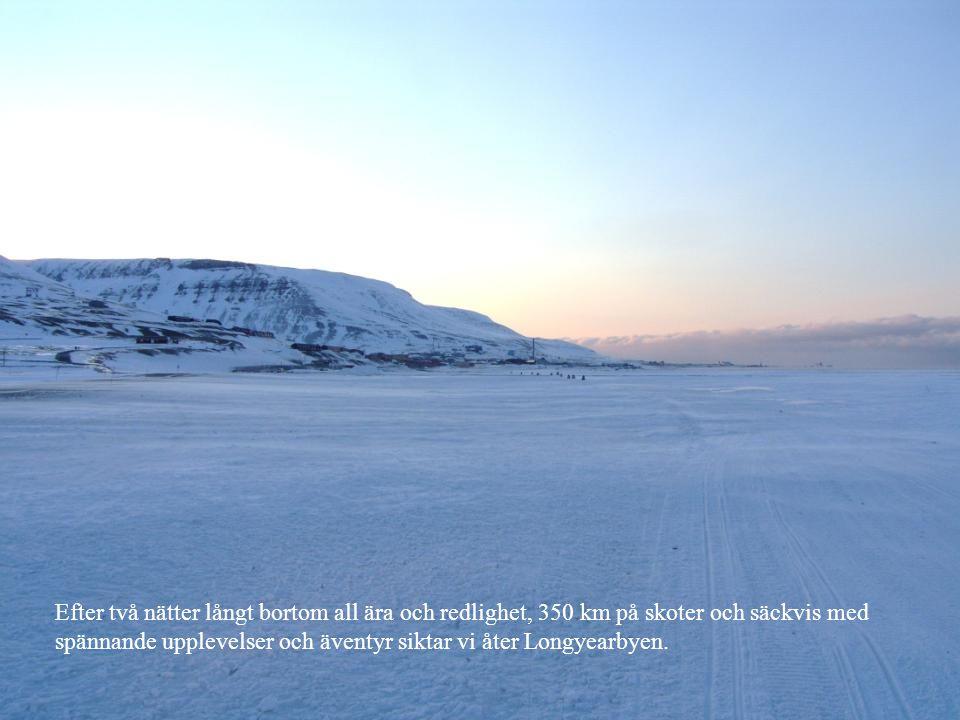 Efter två nätter långt bortom all ära och redlighet, 350 km på skoter och säckvis med spännande upplevelser och äventyr siktar vi åter Longyearbyen.