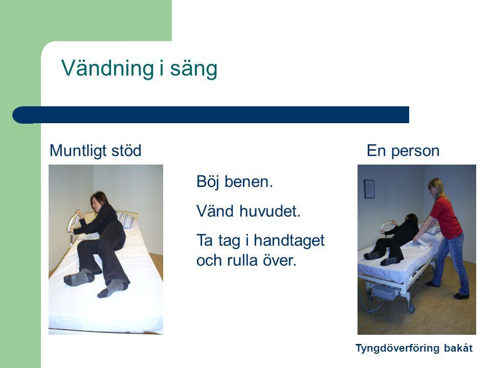 Vändning i säng Muntligt stödEn person Böj benen. Vänd huvudet. Ta tag i handtaget och rulla över. Tyngdöverföring bakåt