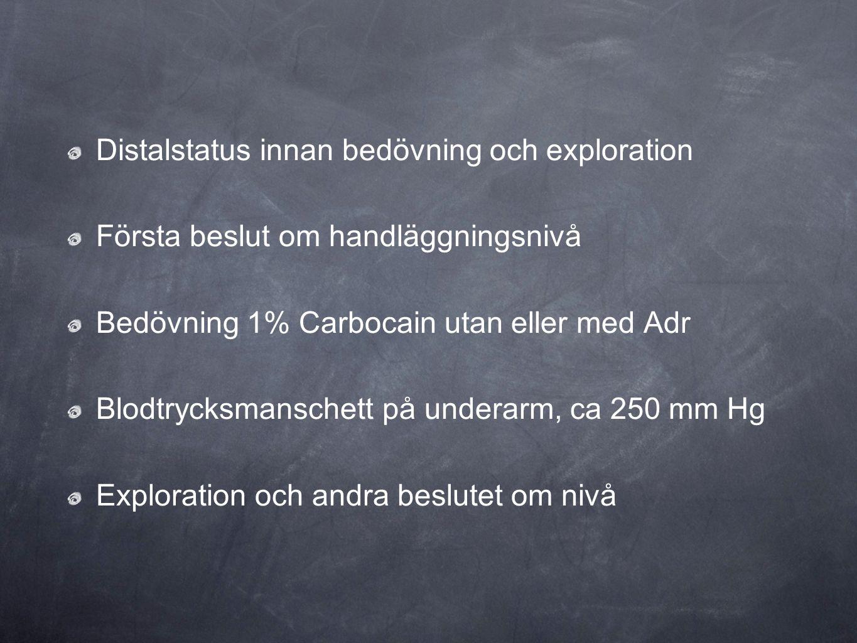Distalstatus innan bedövning och exploration Första beslut om handläggningsnivå Bedövning 1% Carbocain utan eller med Adr Blodtrycksmanschett på under