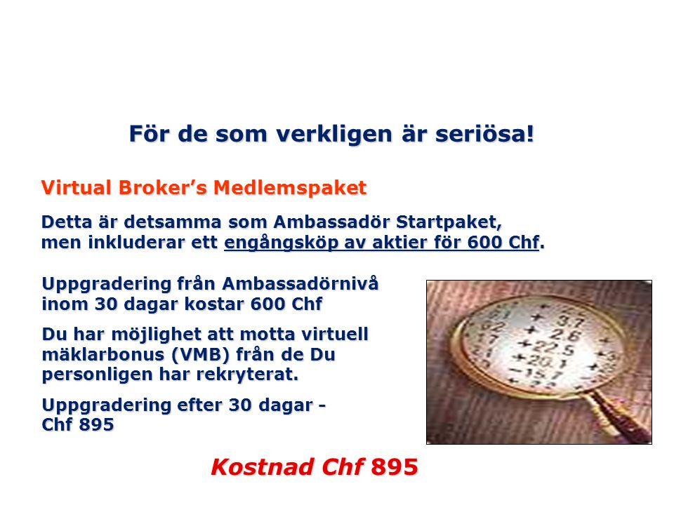 För de som verkligen är seriösa! Virtual Broker's Medlemspaket Detta är detsamma som Ambassadör Startpaket, men inkluderar ett engångsköp av aktier fö