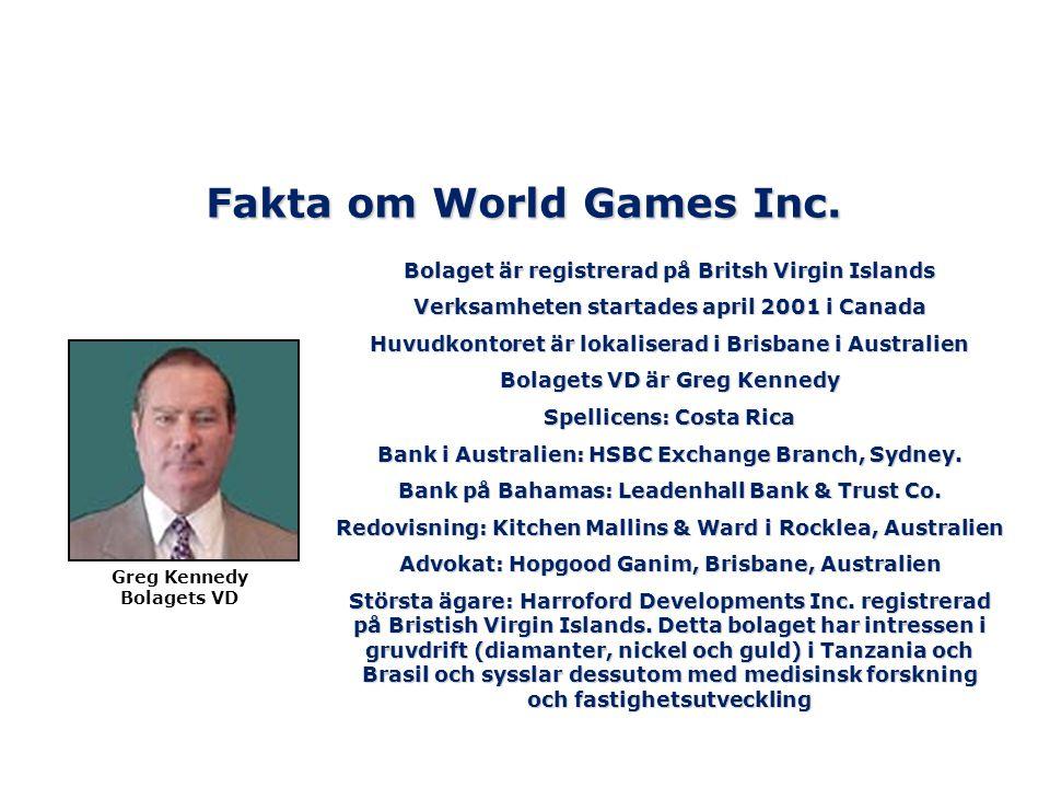 Fakta om World Games Inc. Bolaget är registrerad på Britsh Virgin Islands Verksamheten startades april 2001 i Canada Huvudkontoret är lokaliserad i Br