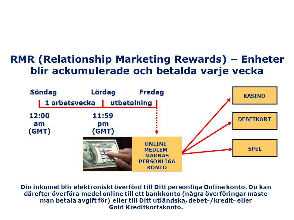 RMR (Relationship Marketing Rewards) – Enheter blir ackumulerade och betalda varje vecka Söndag Lördag Fredag 1 arbetsvecka KASINO DEBETKORT 12:00 am
