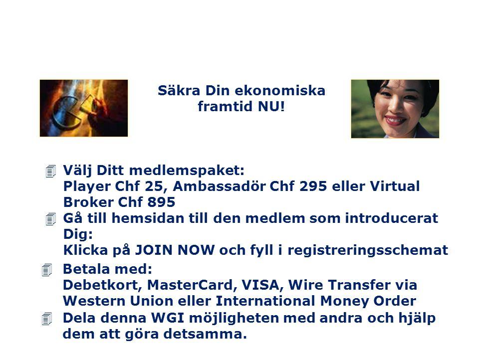 4Gå till hemsidan till den medlem som introducerat Dig: Klicka på JOIN NOW och fyll i registreringsschemat 4Dela denna WGI möjligheten med andra och h