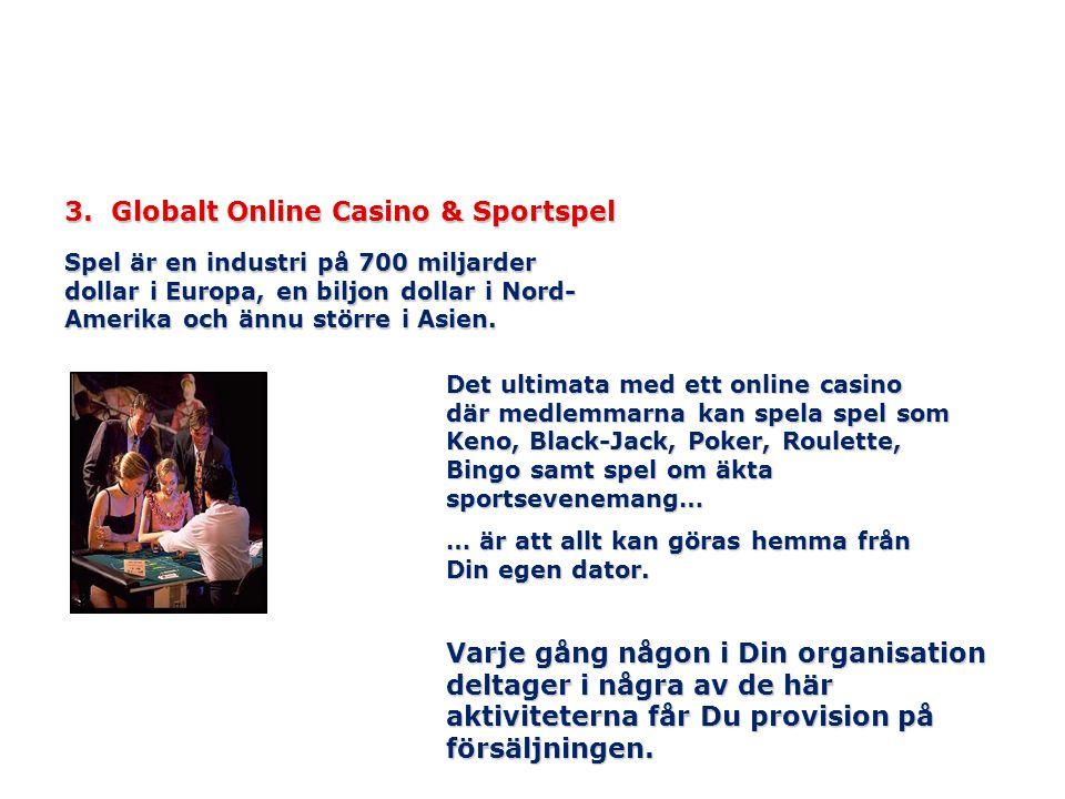 3. Globalt Online Casino & Sportspel Spel är en industri på 700 miljarder dollar i Europa, en biljon dollar i Nord- Amerika och ännu större i Asien. D