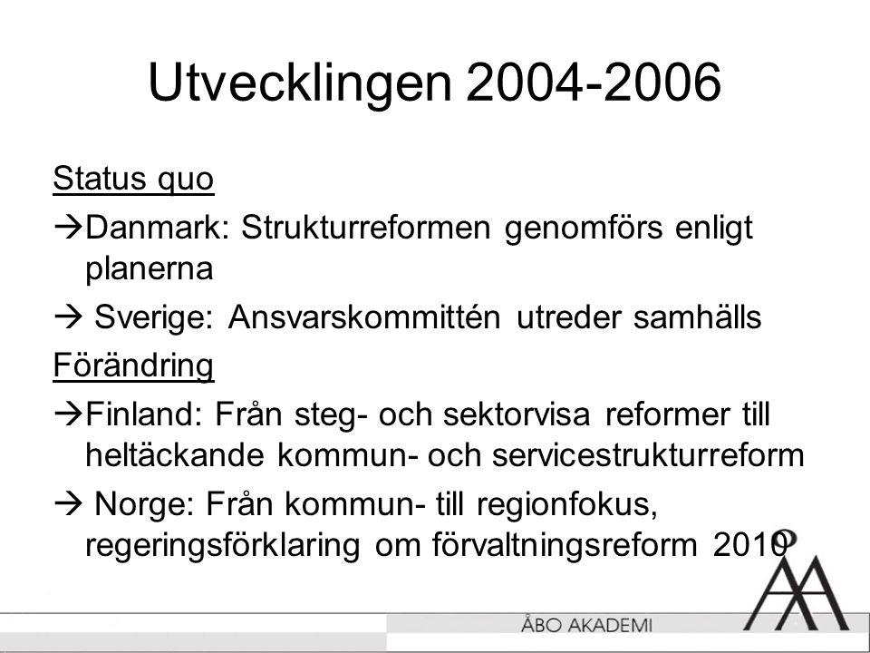 Utvecklingen 2004-2006 Status quo  Danmark: Strukturreformen genomförs enligt planerna  Sverige: Ansvarskommittén utreder samhälls Förändring  Finland: Från steg- och sektorvisa reformer till heltäckande kommun- och servicestrukturreform  Norge: Från kommun- till regionfokus, regeringsförklaring om förvaltningsreform 2010