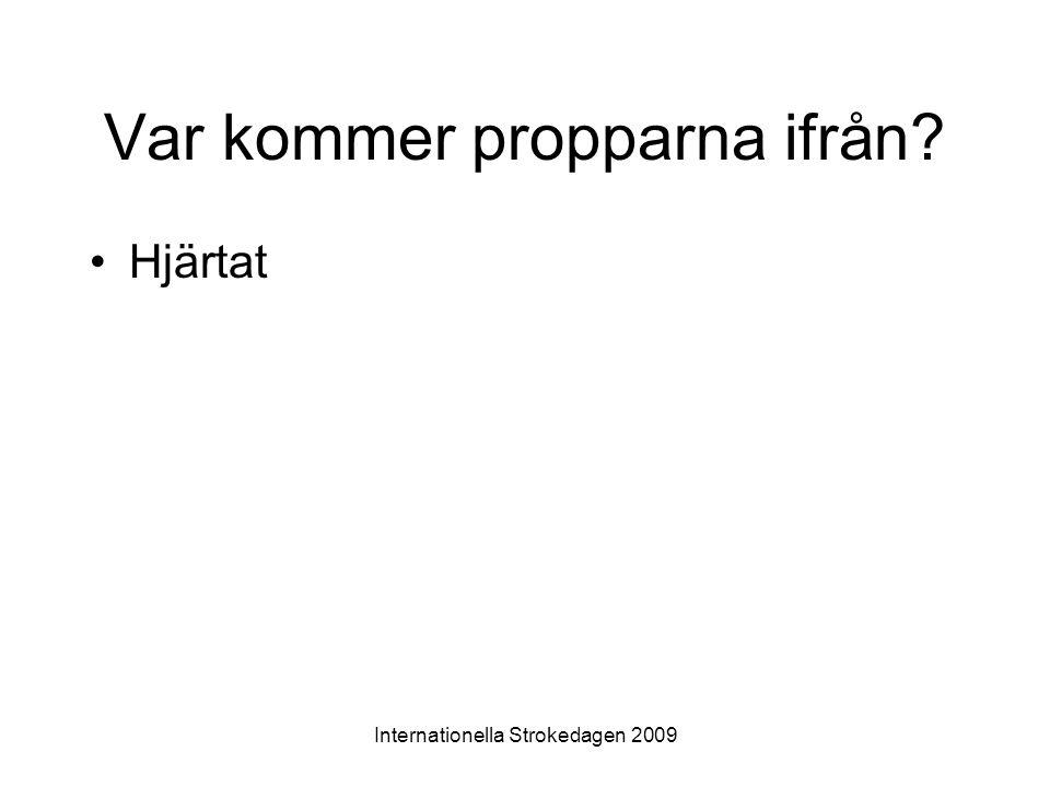 Internationella Strokedagen 2009 Var kommer propparna ifrån? •Hjärtat