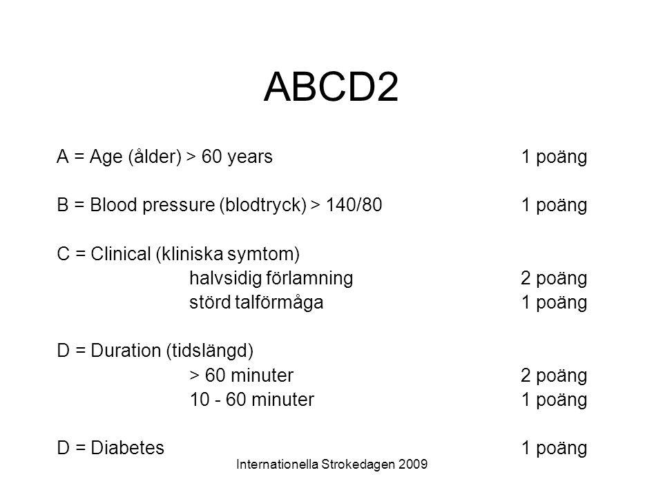 Internationella Strokedagen 2009 ABCD2 A = Age (ålder) > 60 years1 poäng B = Blood pressure (blodtryck) > 140/801 poäng C = Clinical (kliniska symtom)