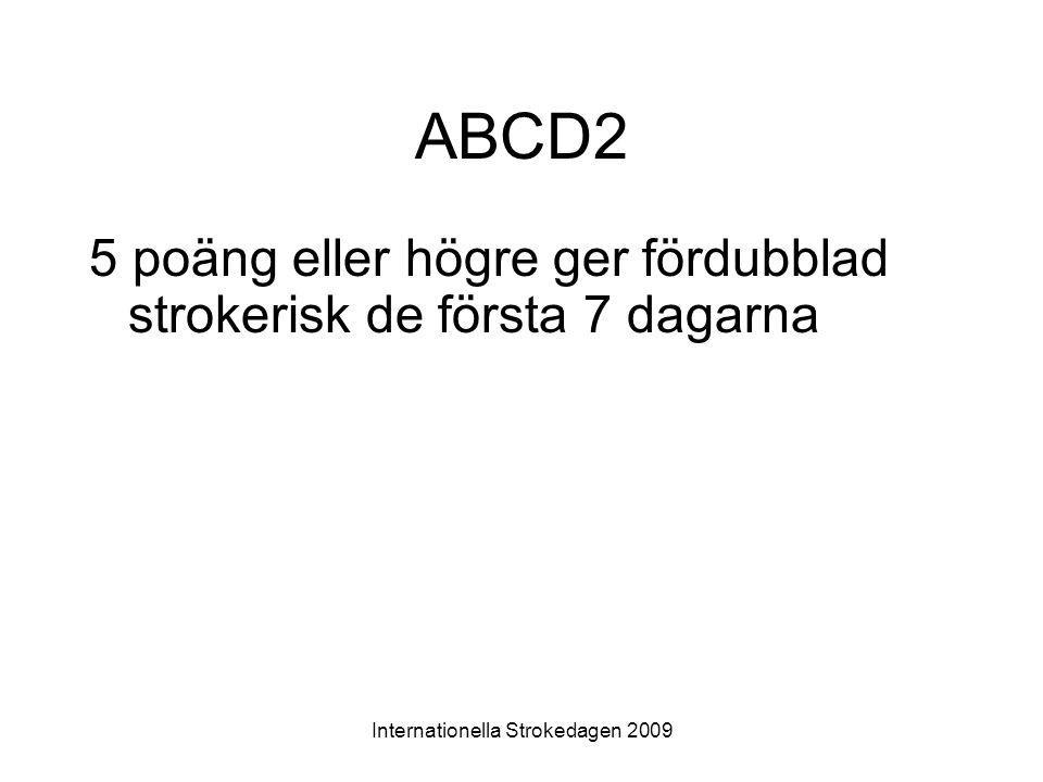 Internationella Strokedagen 2009 ABCD2 5 poäng eller högre ger fördubblad strokerisk de första 7 dagarna