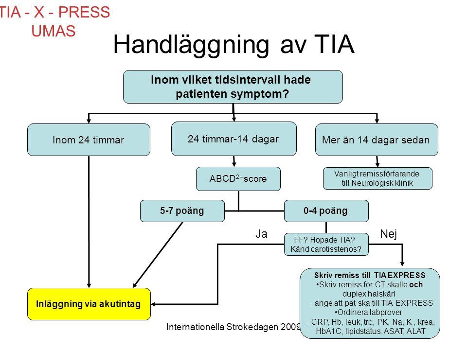 Internationella Strokedagen 2009 Handläggning av TIA Inom vilket tidsintervall hade patienten symptom? Inom 24 timmar 24 timmar-14 dagar Mer än 14 dag