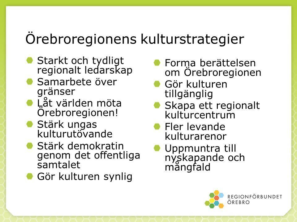 Örebroregionens kulturstrategier Starkt och tydligt regionalt ledarskap Samarbete över gränser Låt världen möta Örebroregionen! Stärk ungas kulturutöv