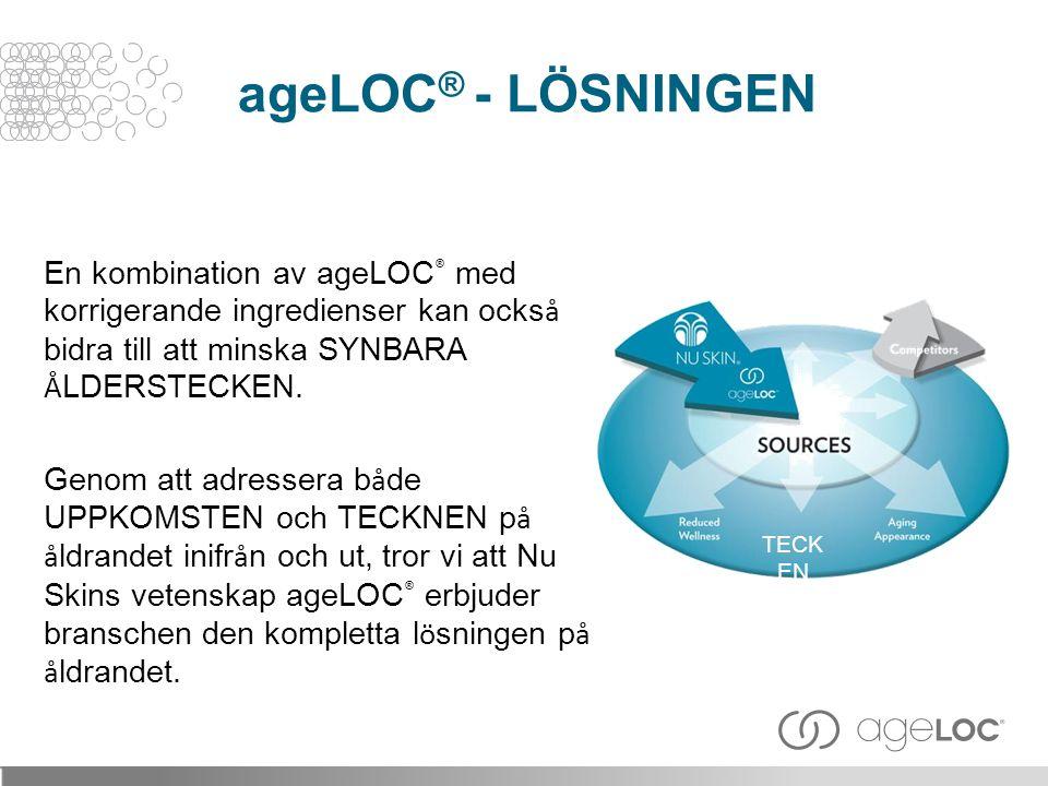 En kombination av ageLOC ® med korrigerande ingredienser kan ocks å bidra till att minska SYNBARA Å LDERSTECKEN. Genom att adressera b å de UPPKOMSTEN