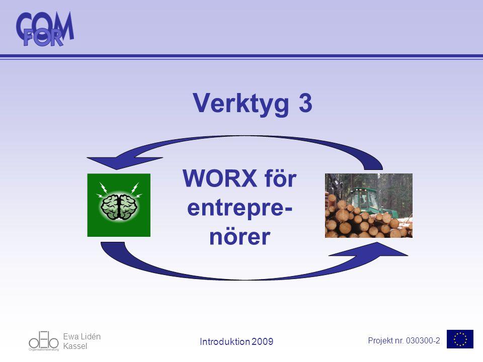 Ewa Lidén Kassel Projekt nr. 030300-2 Introduktion 2009 Verktyg 3 WORX för entrepre- nörer