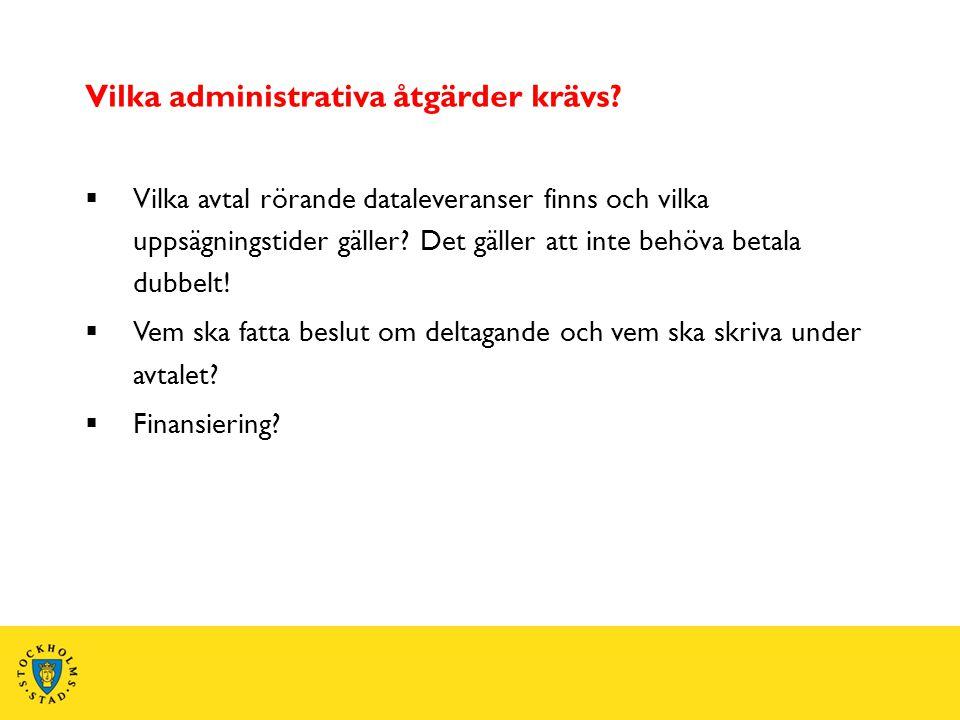 Vilka administrativa åtgärder krävs?  Vilka avtal rörande dataleveranser finns och vilka uppsägningstider gäller? Det gäller att inte behöva betala d