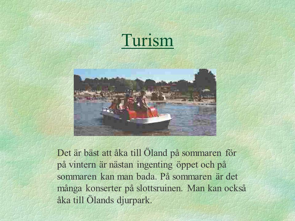 Turism Det är bäst att åka till Öland på sommaren för på vintern är nästan ingenting öppet och på sommaren kan man bada.
