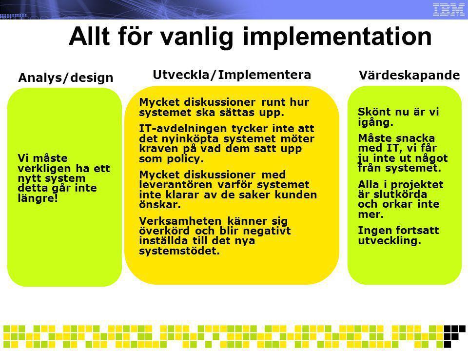 Allt för vanlig implementation Analys/design Mycket diskussioner runt hur systemet ska sättas upp. IT-avdelningen tycker inte att det nyinköpta system