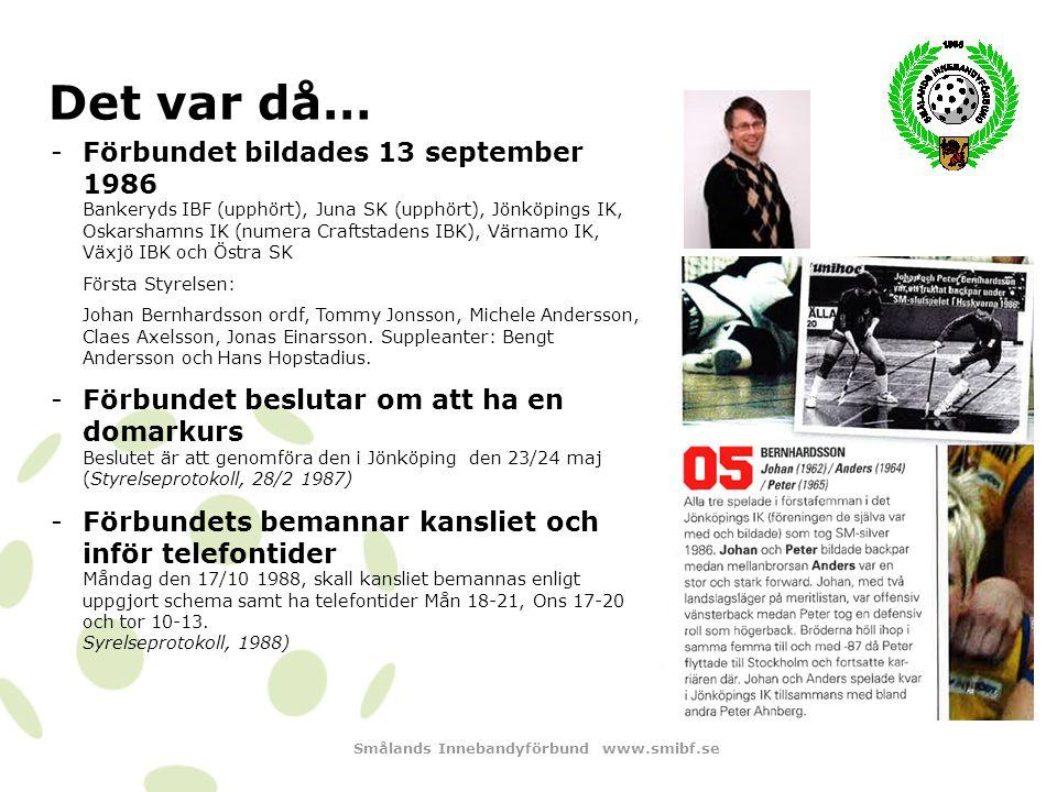 Smålands Innebandyförbund www.smibf.se Det var då… -Förbundsutveckling skedde även 1997 och 1999 -SmIBF on tour Beslutades om SmIBF on tour att besöka hallarna.