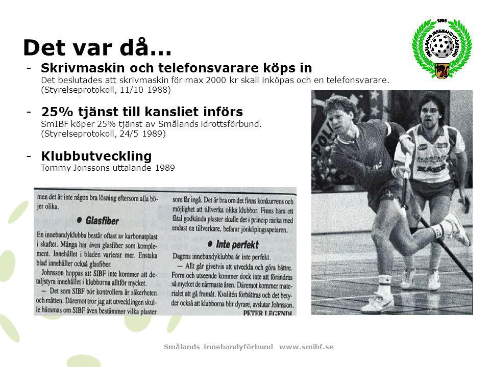 Smålands Innebandyförbund www.smibf.se Det var då… -Namnbyte till Floorboll röstas ner Styrelsen röstade mot namnbyte till Floorboll.