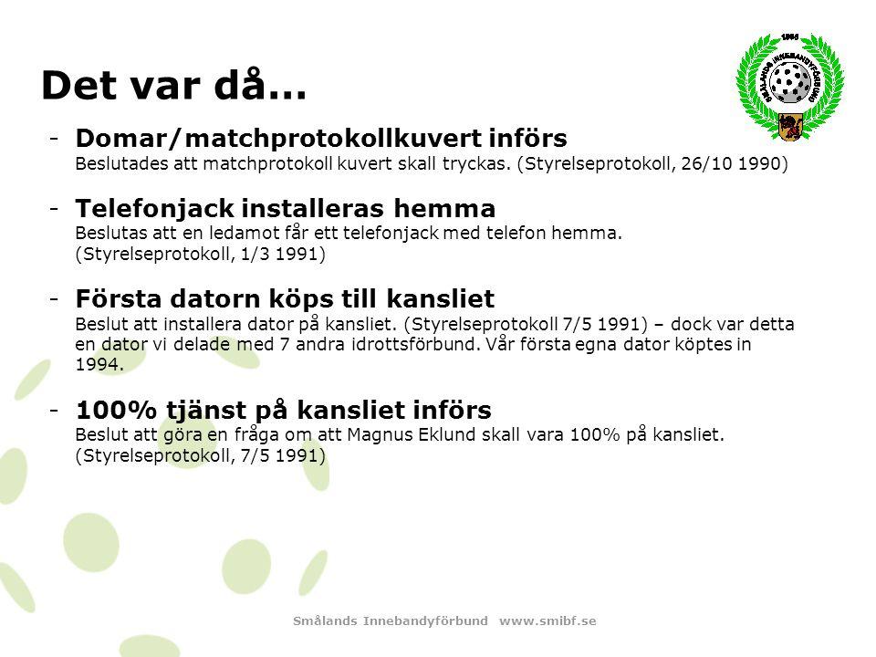 Smålands Innebandyförbund www.smibf.se Det var då… -Representationskostym införs Beslutas att kostym med skjorta skall köpas in till styrelse, tillhörande suppleanter och kanslist.