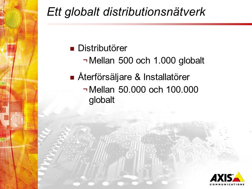 Ett globalt distributionsnätverk  Distributörer ¬ Mellan 500 och 1.000 globalt  Återförsäljare & Installatörer ¬ Mellan 50.000 och 100.000 globalt