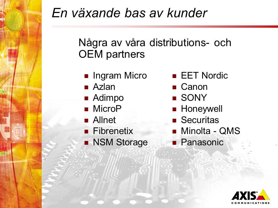 En växande bas av kunder  Ingram Micro  Azlan  Adimpo  MicroP  Allnet  Fibrenetix  NSM Storage  EET Nordic  Canon  SONY  Honeywell  Securitas  Minolta - QMS  Panasonic Några av våra distributions- och OEM partners