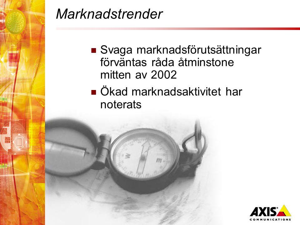 Marknadstrender  Svaga marknadsförutsättningar förväntas råda åtminstone mitten av 2002  Ökad marknadsaktivitet har noterats