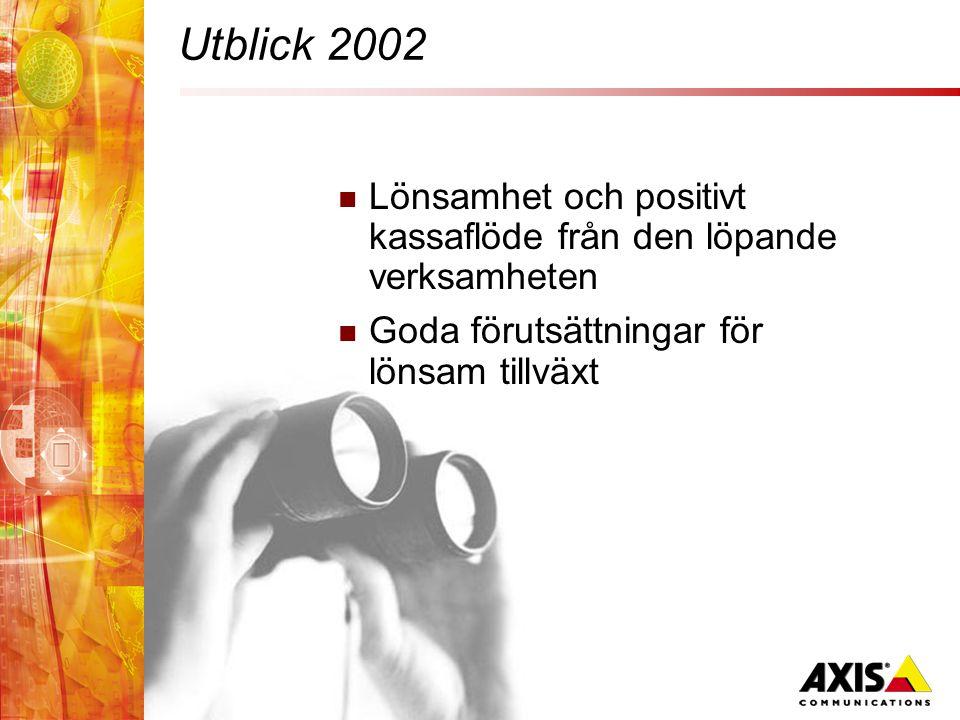 Utblick 2002  Lönsamhet och positivt kassaflöde från den löpande verksamheten  Goda förutsättningar för lönsam tillväxt
