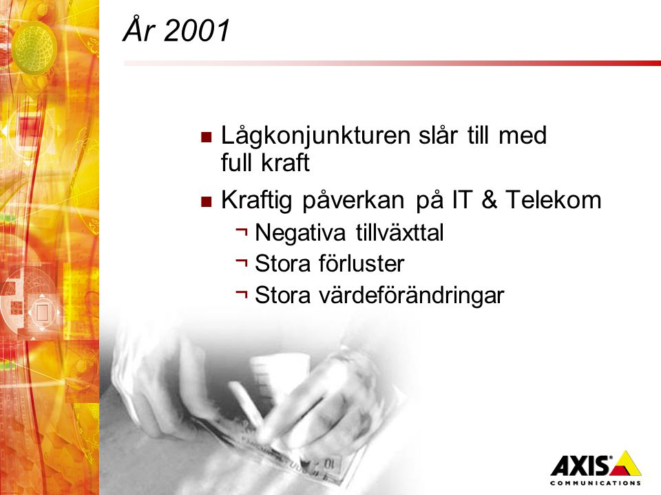 År 2001  Lågkonjunkturen slår till med full kraft  Kraftig påverkan på IT & Telekom ¬Negativa tillväxttal ¬Stora förluster ¬Stora värdeförändringar
