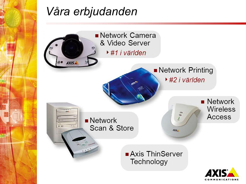  Network Camera & Video Server  #1 i världen Våra erbjudanden  Network Printing  #2 i världen  Network Scan & Store  Network Wireless Access  Axis ThinServer Technology
