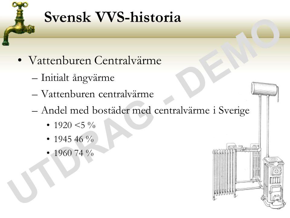 UTDRAG - DEMO Svensk VVS-historia •Vattenburen Centralvärme –Initialt ångvärme –Vattenburen centralvärme –Andel med bostäder med centralvärme i Sverig