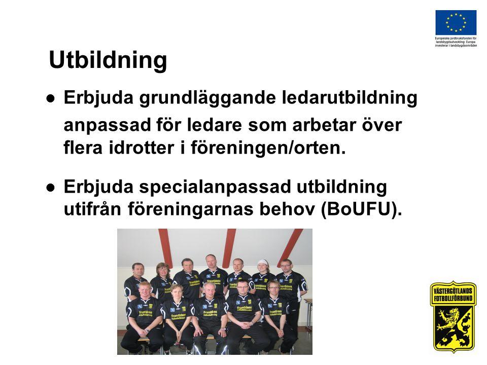 Utbildning  Erbjuda grundläggande ledarutbildning anpassad för ledare som arbetar över flera idrotter i föreningen/orten.