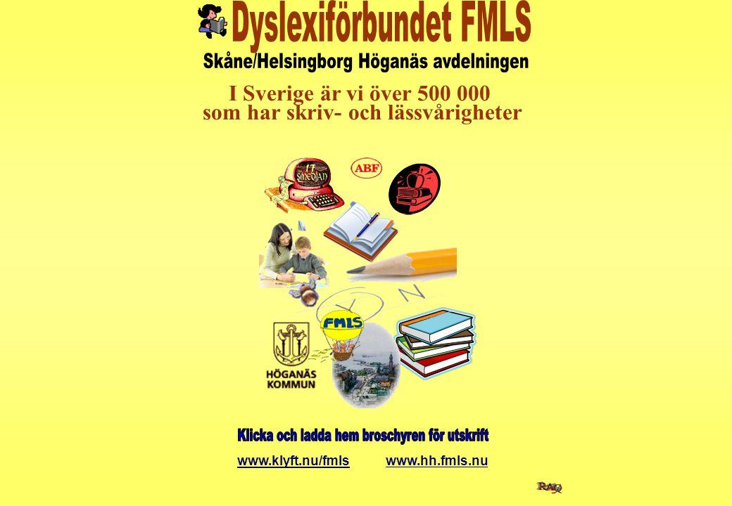 I Sverige är vi över 500 000 som har skriv- och lässvårigheter www.klyft.nu/fmls www.hh.fmls.nu