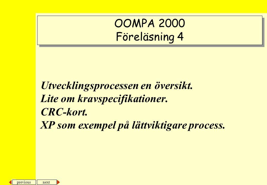 next previous Utvecklingsprocessen en översikt.Lite om kravspecifikationer.