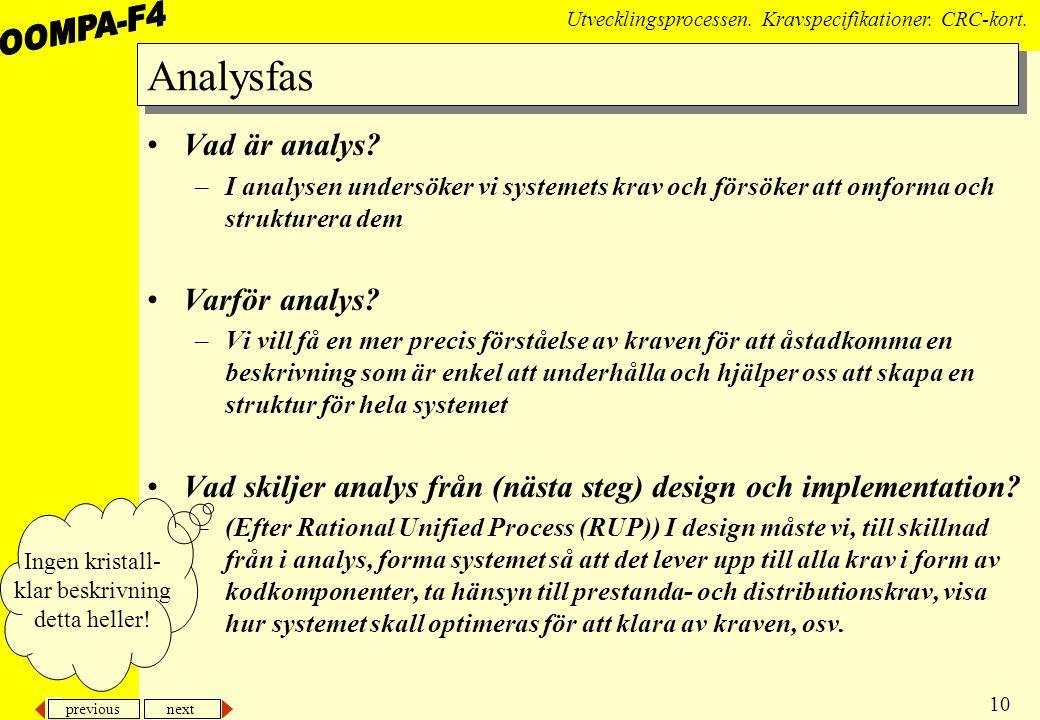 previous next 10 Utvecklingsprocessen.Kravspecifikationer.