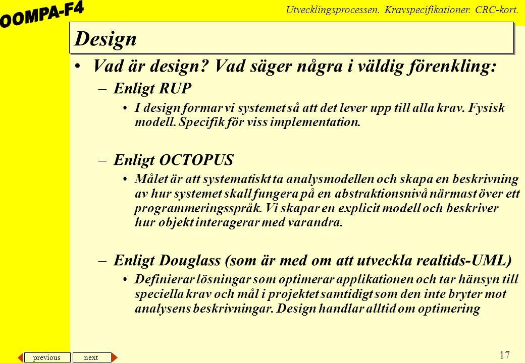 previous next 17 Utvecklingsprocessen.Kravspecifikationer.
