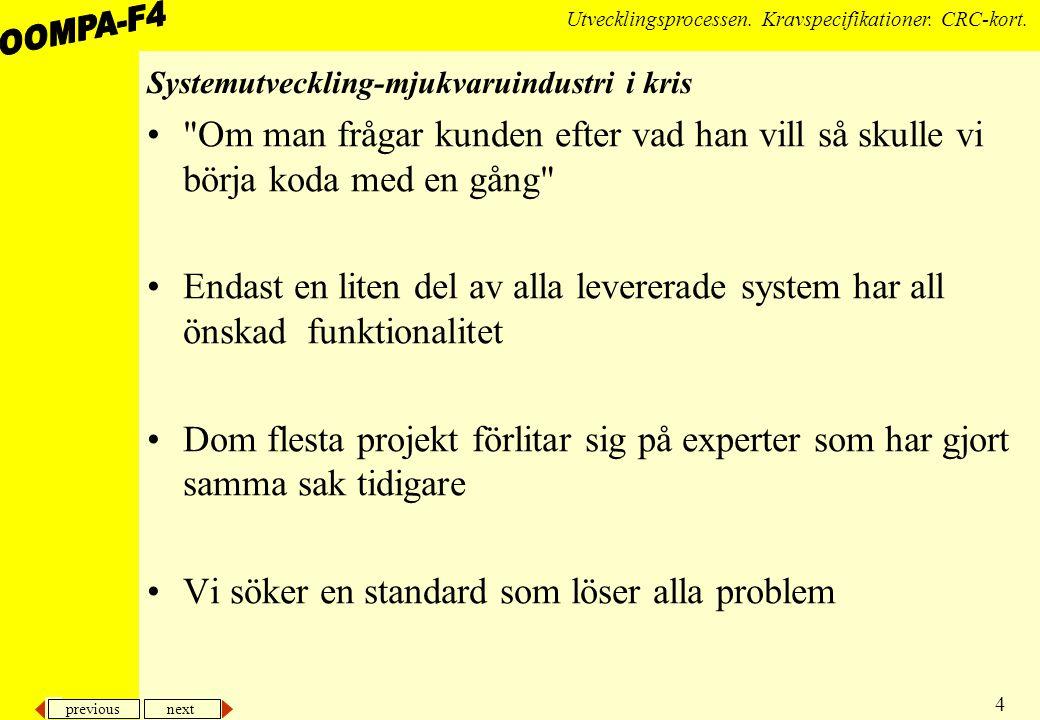 previous next 4 Utvecklingsprocessen.Kravspecifikationer.